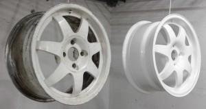 Диск до и после покраски в белый цвет